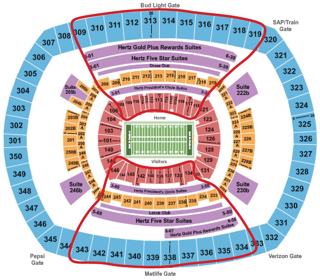 New York Jets Tickets - Metlife Sitzplan