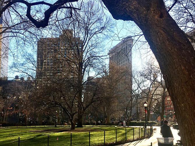 Flatiron Building in New York - Madison Square Park