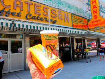 Deno's Wonder Wheel Amusement Park in Coney Island - Nathans famous Hot Dog